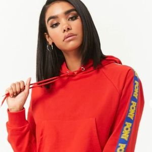 PONY x Forever 21+  Cropped Stripe Hoodie